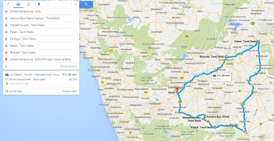 my journey today from 11 am to 8 pm with 3 hrs break at palani and 1/2 hour break at salem on my ktm duke 390 TN37CE9786